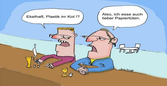 Cartoons by Tobias Schülert: how to protect yourself from plastic in the feces