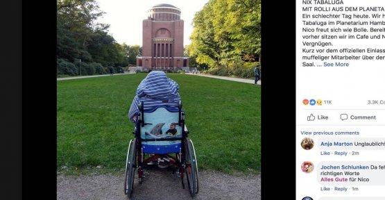 Violent Shitstorm: Planetarium Hamburg in a wheelchair throws out