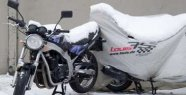 Motorcycle in the winter blankets sleep well